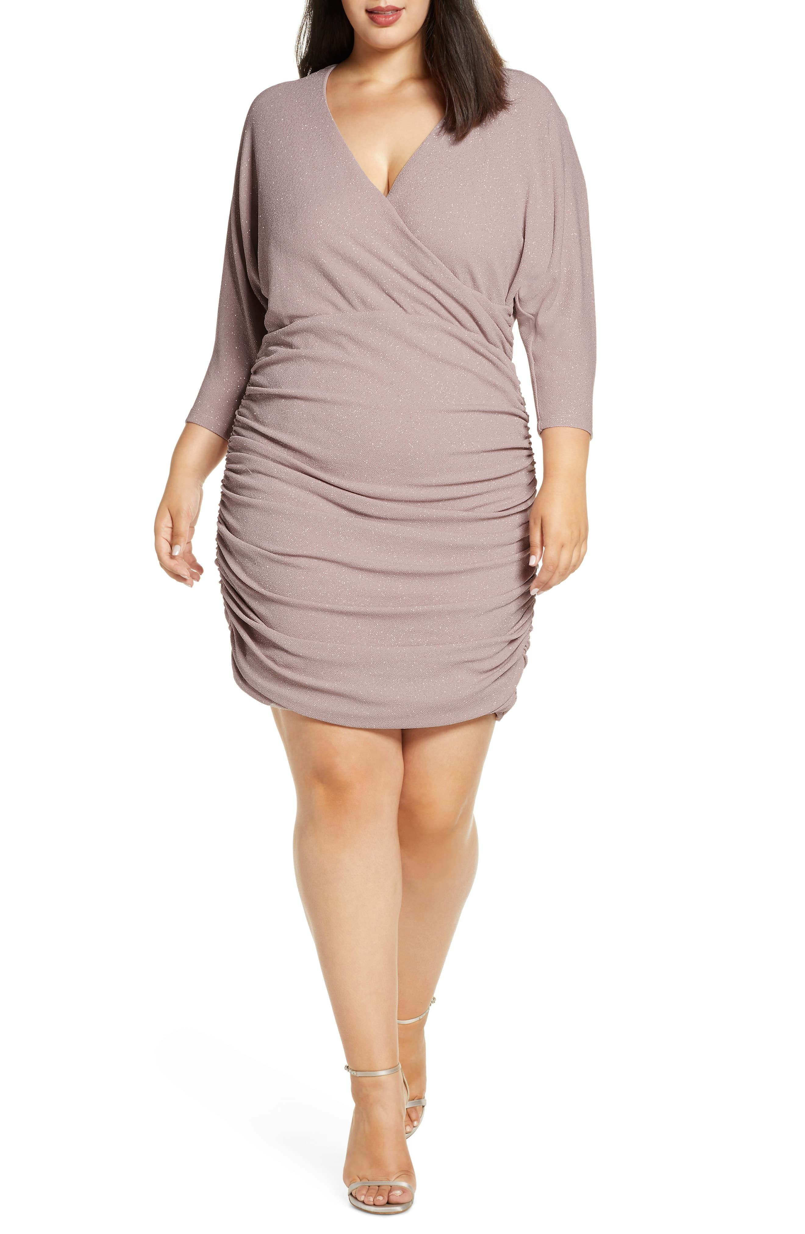 Vince Camuto Ruched Glitter Knit Body-Con Dress (Plus Size ...