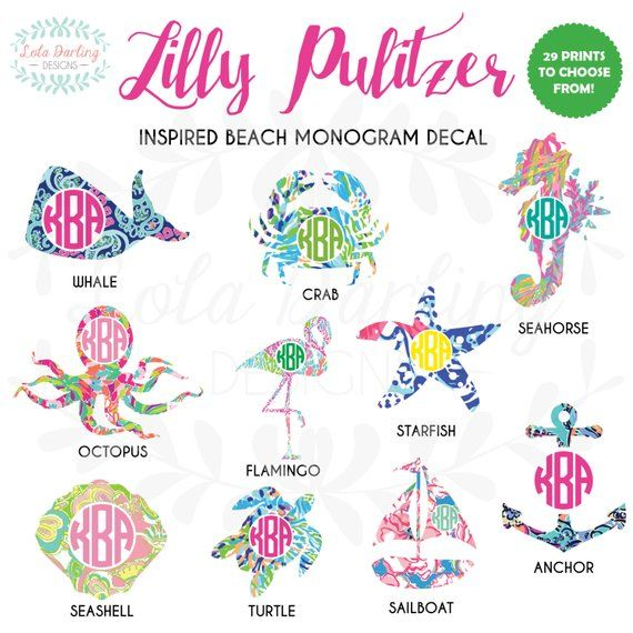 a7560ba2deb Lilly Pulitzer Inspired Beach Monogram Vinyl Decal 2