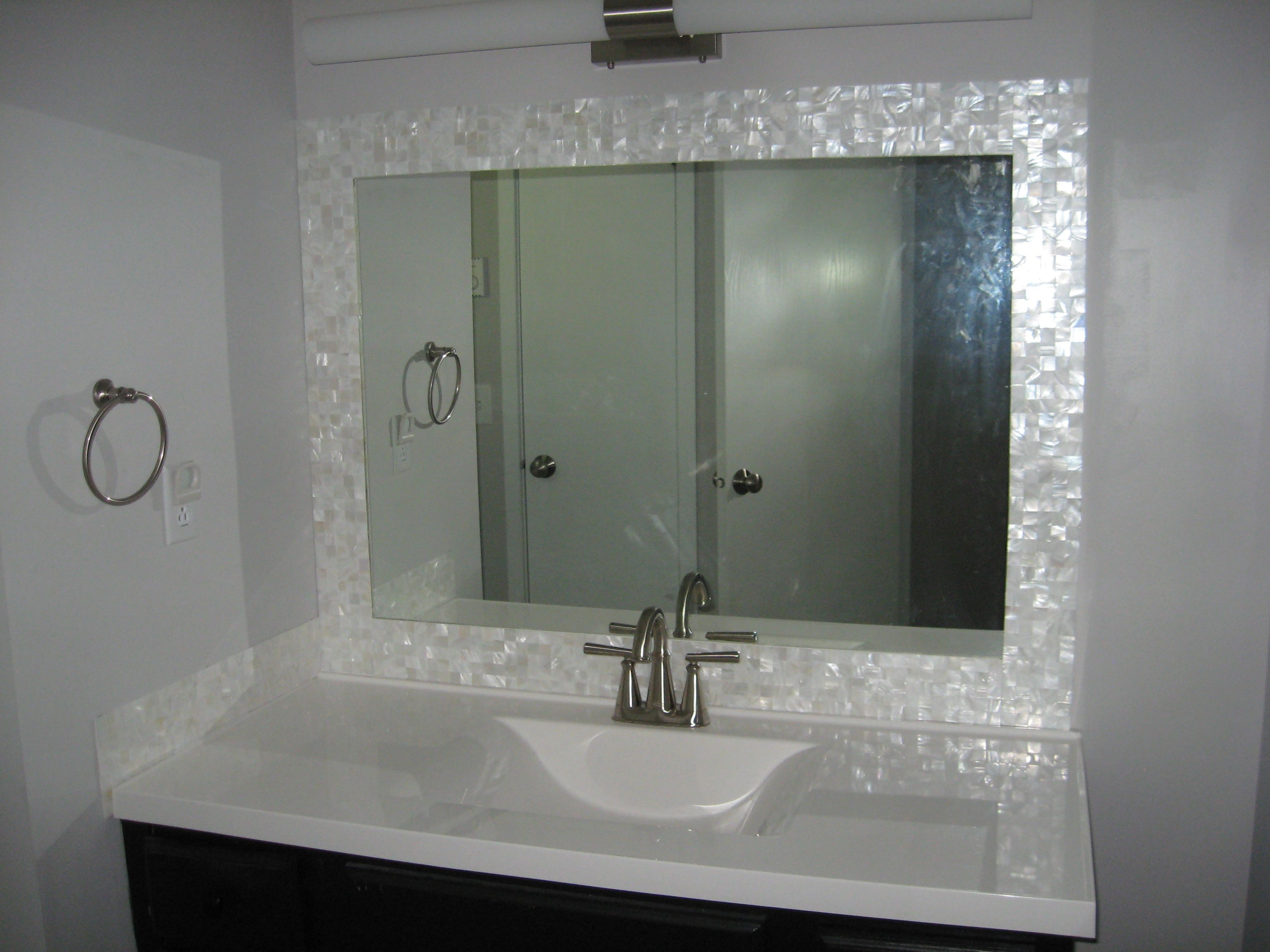 White Square Groutless Pearl Shell Tile Diy Bathroom Remodel Bathroom Mirror White Bathroom Tiles