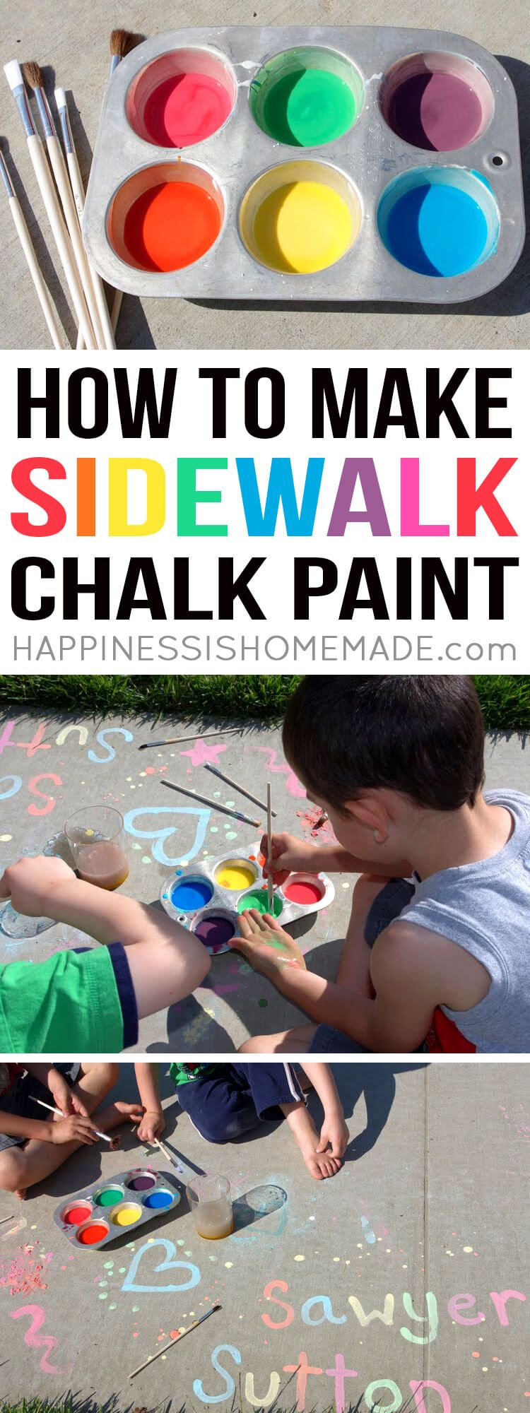 Learn how to make sidewalk chalk paint and keep your children entertained all day long with this quick and easy kids craft activity! Great summer kids craft project! via @hiHomemadeBlog
