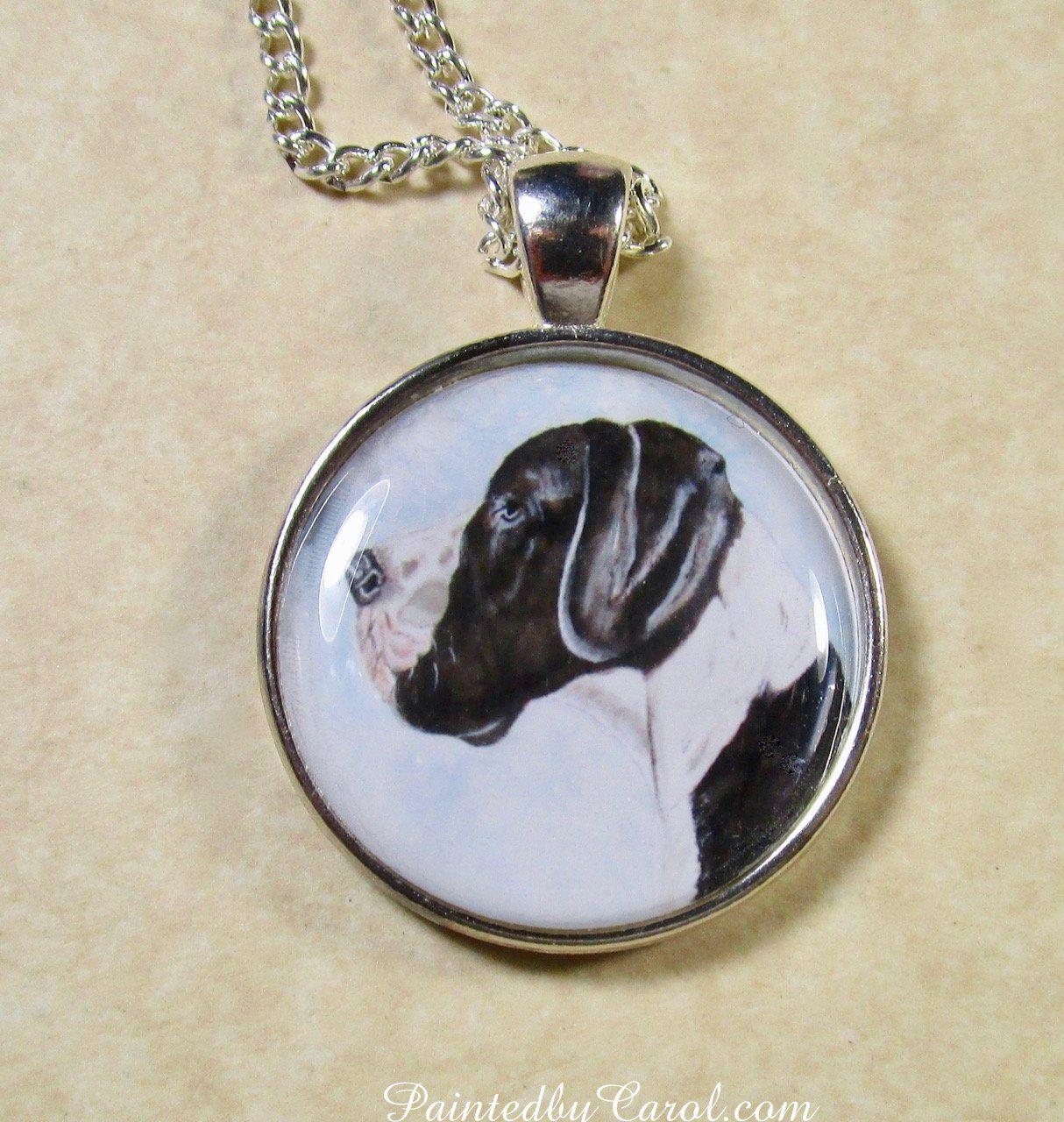 Vintage Buck Fever Black Cabochon Glass Necklace chain Pendant