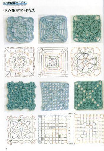 схемы квадратных мотивов крючком вязание крючком вязание крючком