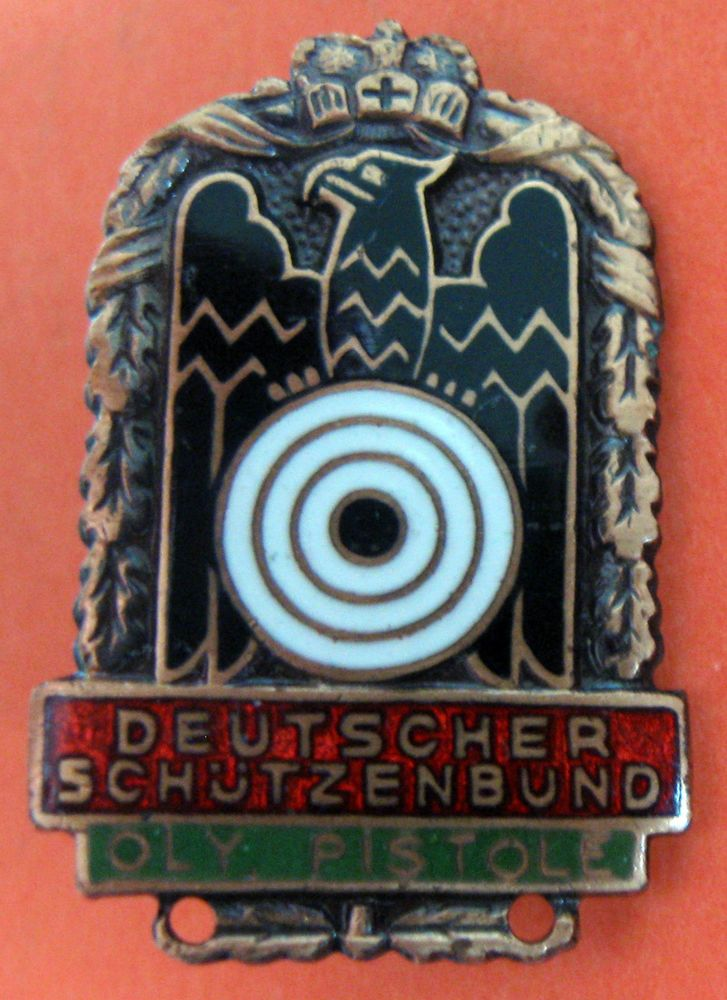 GERMAN SHOOTING FEDERATION - OLY PISTOL BRONZE COLOR BADGE , 30x20 mm.  | eBay