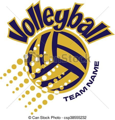 Vectors Of Volleyball Team Design With Ball And Dots For School Csp38555232 Search Clip Art Illus Volleyball Shirt Designs Volleyball Volleyball Designs