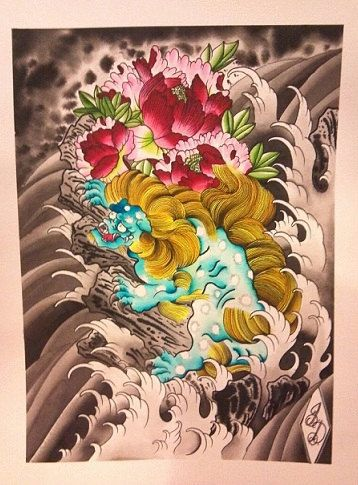 Original Japanese Tattoo Style Foo Dog Watercolor Painting