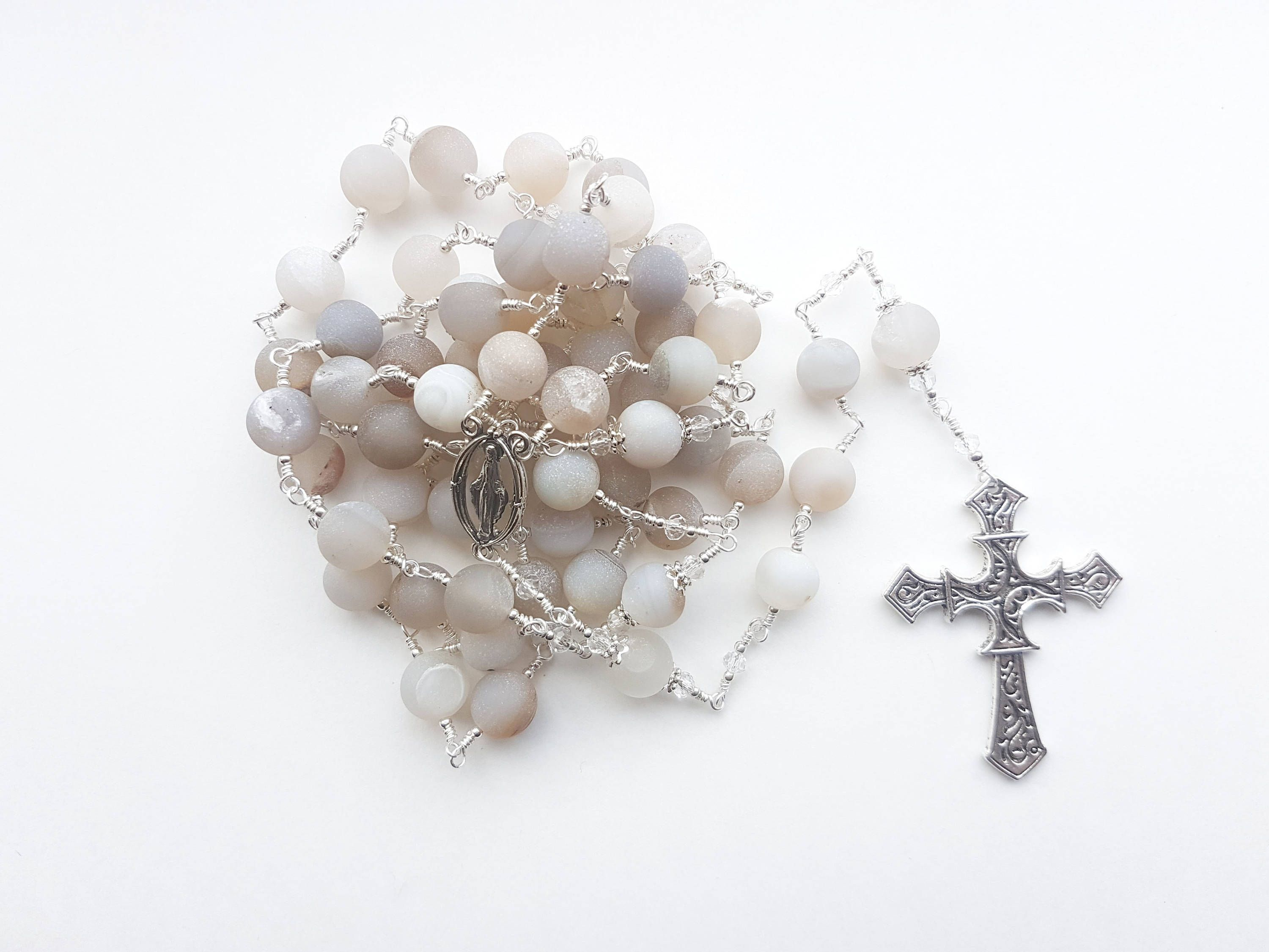 Frosted Catholic Rosary Beads. Gemstone Rosaries, Wire Wrapped with ...