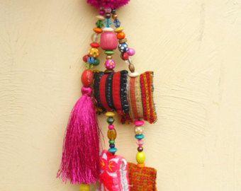 Turquoise Silk tassel Purse Charm Hmong fabric pompoms beautiful beadwork