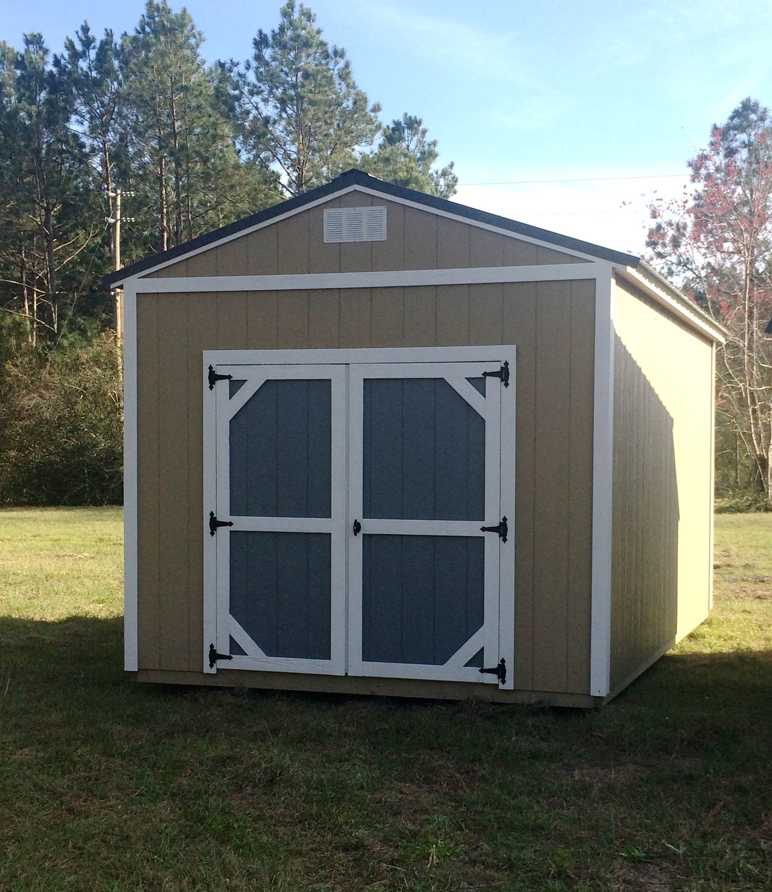 coastal portable buildings gs 10x16 taupe with charcoal roof and
