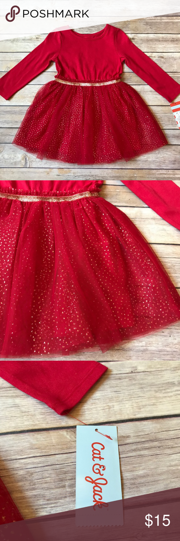 1eb429020e NWT Cat & Jack Brand new with tags attached. Size 2T Cat & Jack red and gold  tutu dress. Long sleeve cotton top with red and gold tutu skirt. Sparkly  gold ...