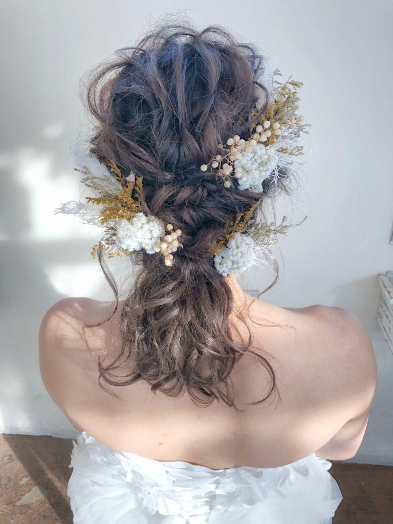 結婚式前撮りのヘアアレンジ 結婚式 ヘアスタイル ダウン 結婚式