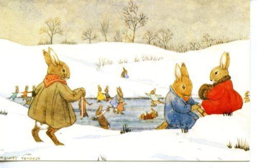 Ice Skating Rabbits Dressed Animal Art Margaret Tempest Signed Medici Postcard | eBay