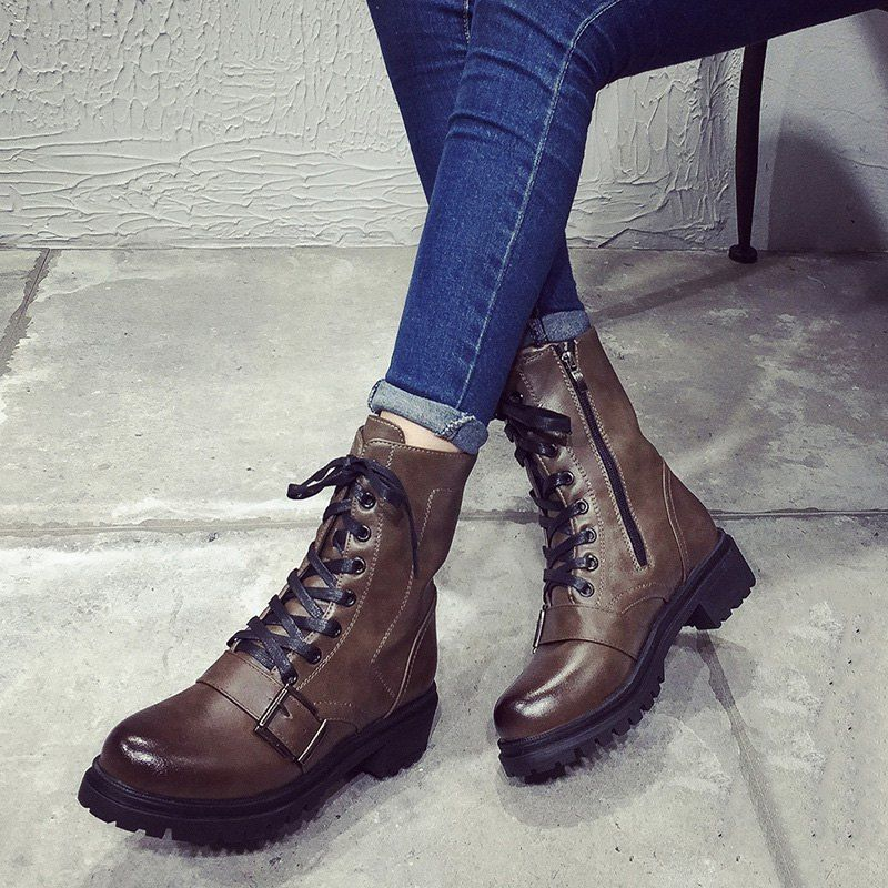 Vintage Lace-Up Buckle Combat Boots   boots ♥❤   Pinterest 257f85bb573
