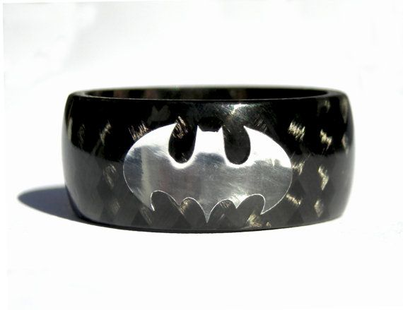 Mens carbon fiber Batman ring The Dark Knight Rises black glossy