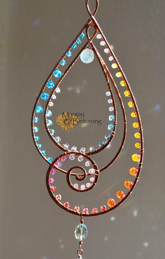Super sparkly Paisley-esque Suncatcher, gemstone Swarovski Crystal wire art window patio garden ornament, swirl paisley rainbow maker ombre
