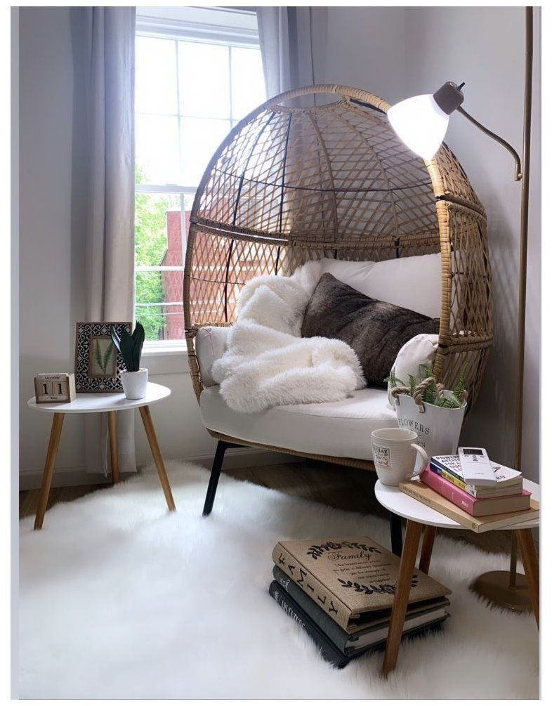 Cozy Corner Egg Chair Decor I M A Big Fan Of Utilizing Outdoor Furniture For Indoor Projects Take This B Cozy Room Decor Bedroom Seating Living Room Corner