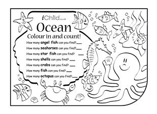 enjoy colouring in and counting these activities count how many ocean animals you can see - Colouring In Activities
