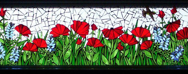Poppies in bathroom window by Mosaics by Marlene, via Flickr