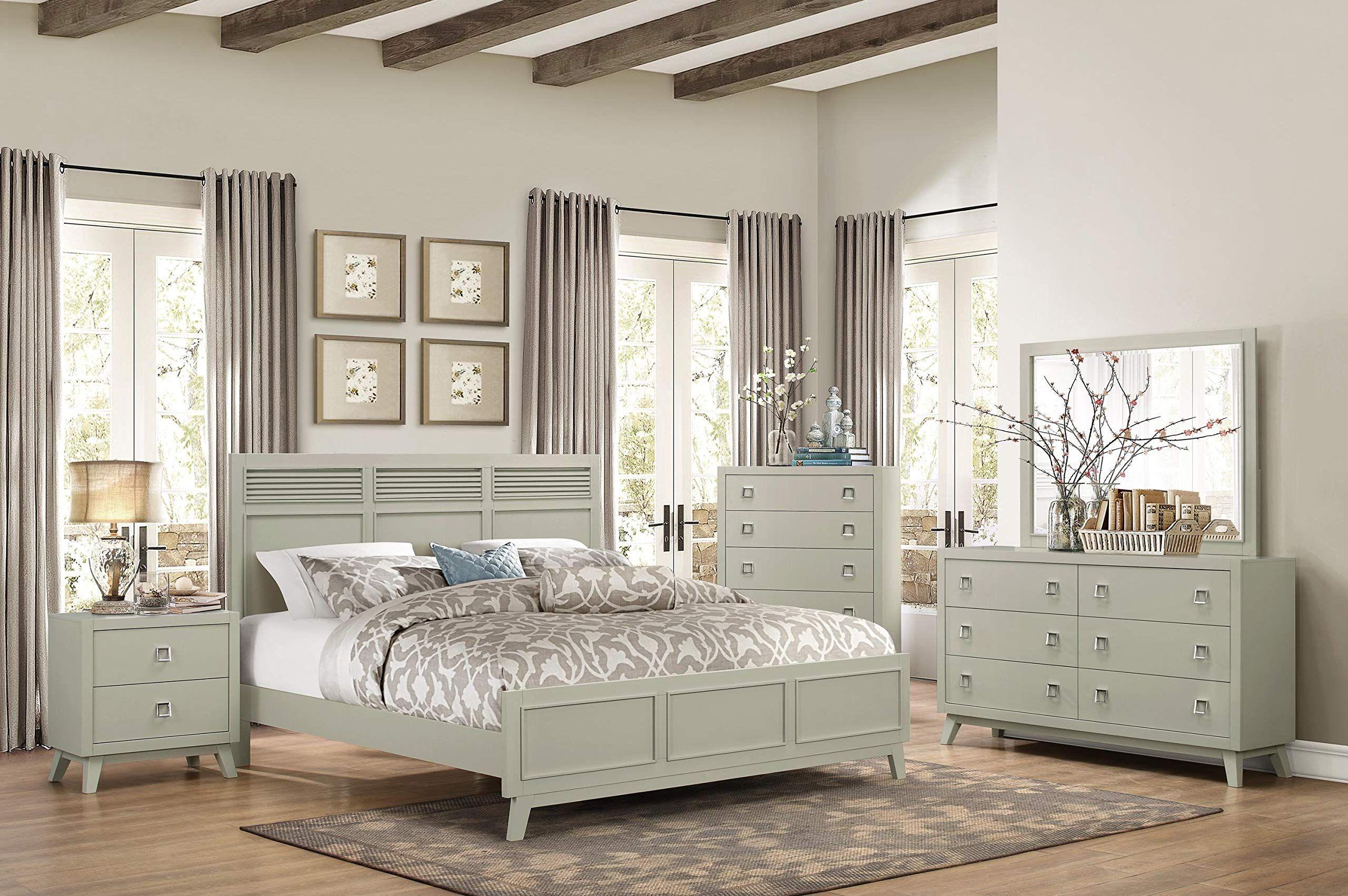 Valas Coastal 5pc Bedroom Set Cal King Bed Dresser Mirror 2 Nightstand In Arctic Grey Grey Bedroom Furniture Grey Bedroom Furniture Sets Light Gray Bedroom
