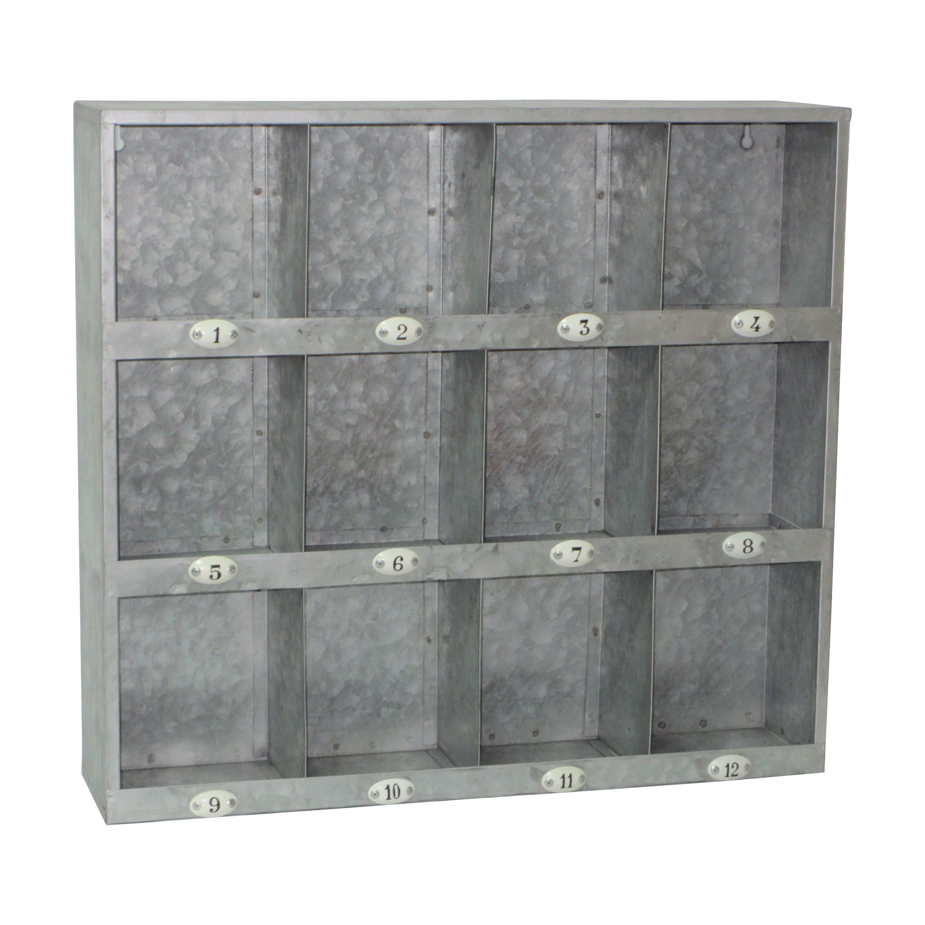 Cheungs Galvanized 12 Hole Wall Cubby With Images Wall Cubbies Galvanized Metal Wall Wall Cubby Storage