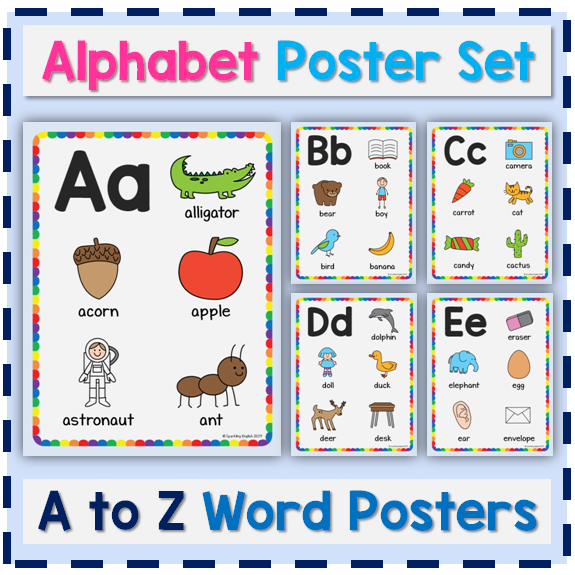 Alphabet Posters Learn Words For Each Letter Alphabet Poster Word Poster Alphabet Pictures