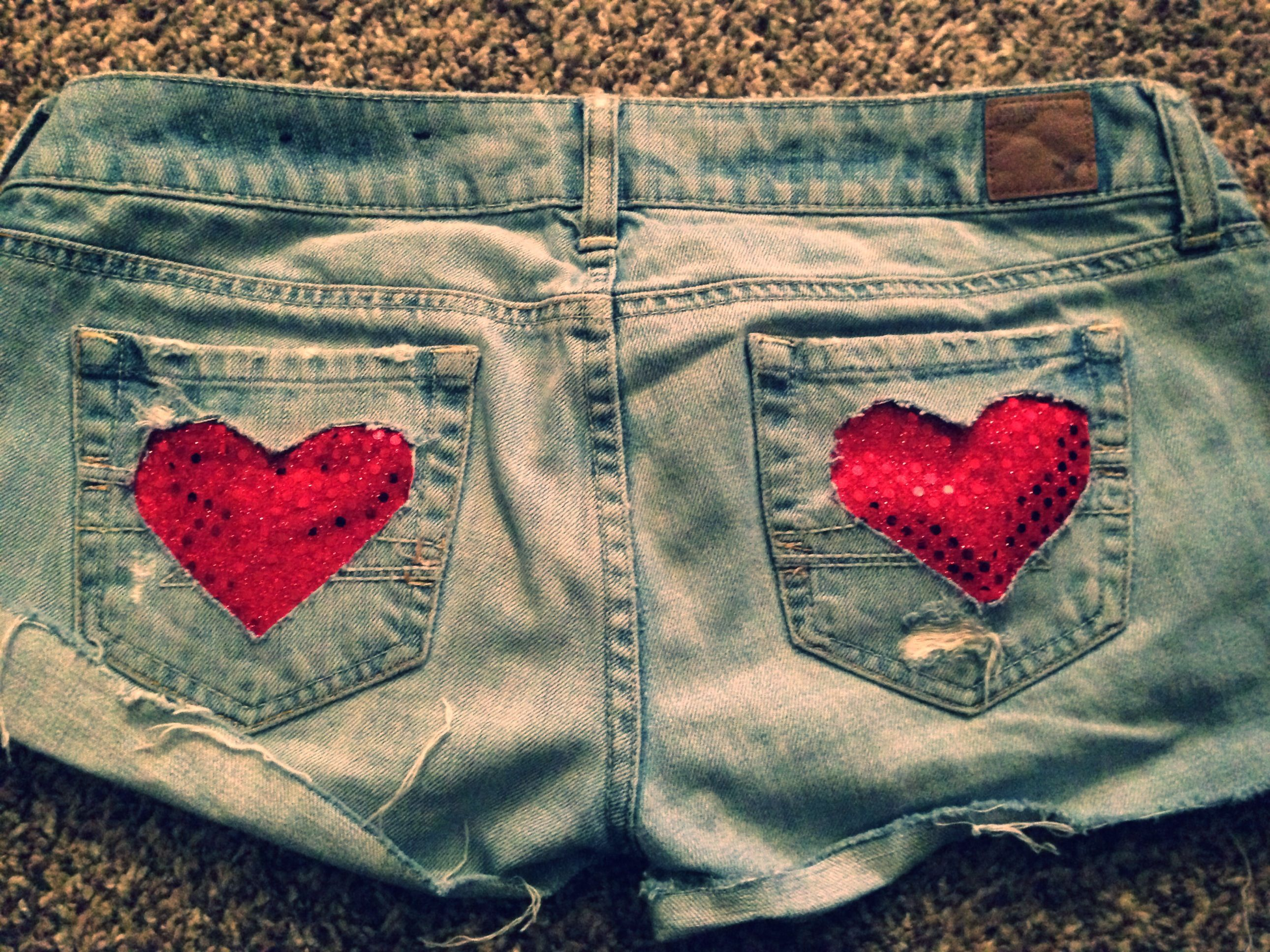 cbd04e4356 diy sequin heart cut off jean shorts #sewing #fashion | My Projects ...