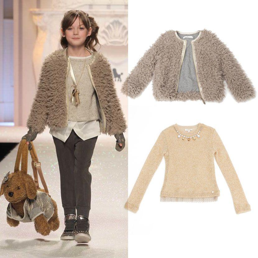 Børnetøj udsalg kjoler til piger Blød varm pigejakke og guld strik