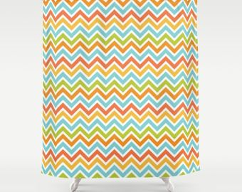 Chevron Shower Curtain, Chevron Bathroom, Chevron Decor, Multiple Color, Red,  Orange