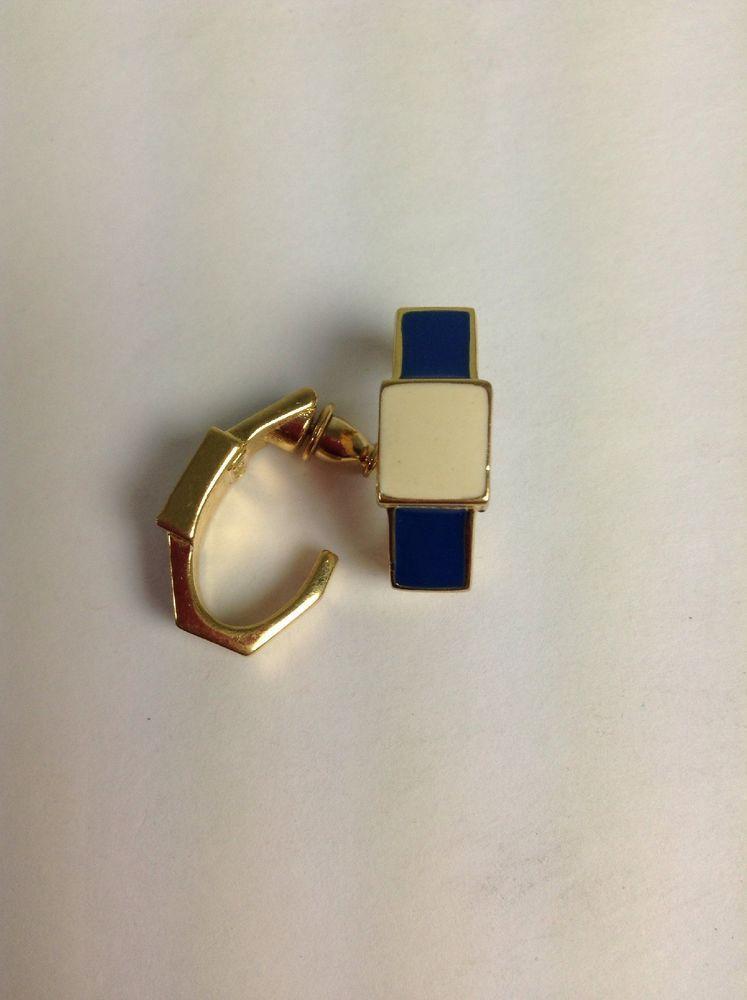 97d20b2b179aab Monet Vintage 80s Pierced Earrings Navy Beige Gold Enamel | eBay ...