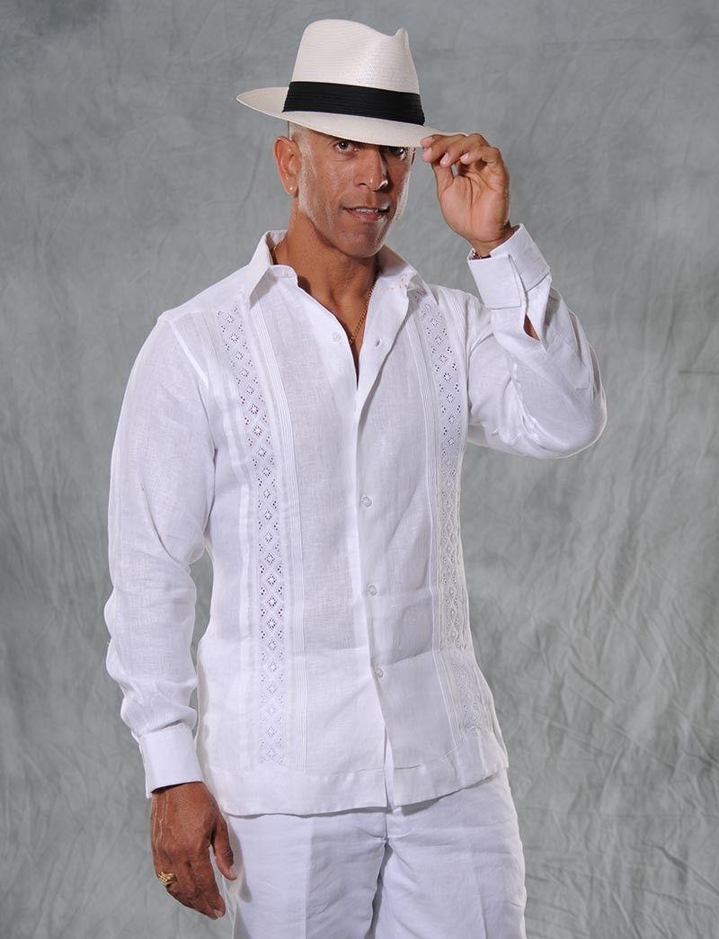 e8ed93a0e4 Formal Linen Guayabera for Men. Pure white. Hight quality. Design for Big  Festivities for GuayaberasCubanas.com