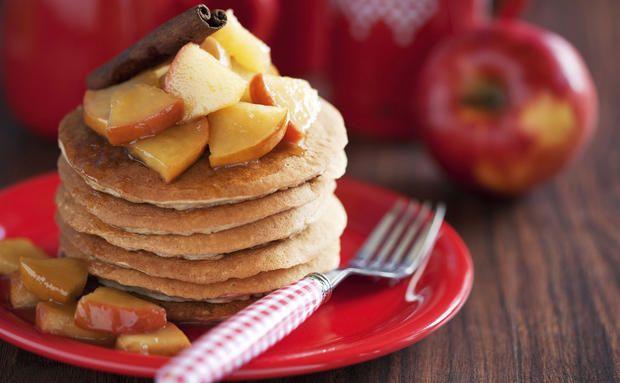 Frühstücks-Rezept: Vanille-#Pancakes mit zweierlei Äpfel #vegan