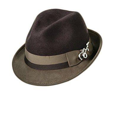 bf7f8b297 Dorfman Pacific Carlos Santana Bogart Fedora Hat (Brown & Taupe ...