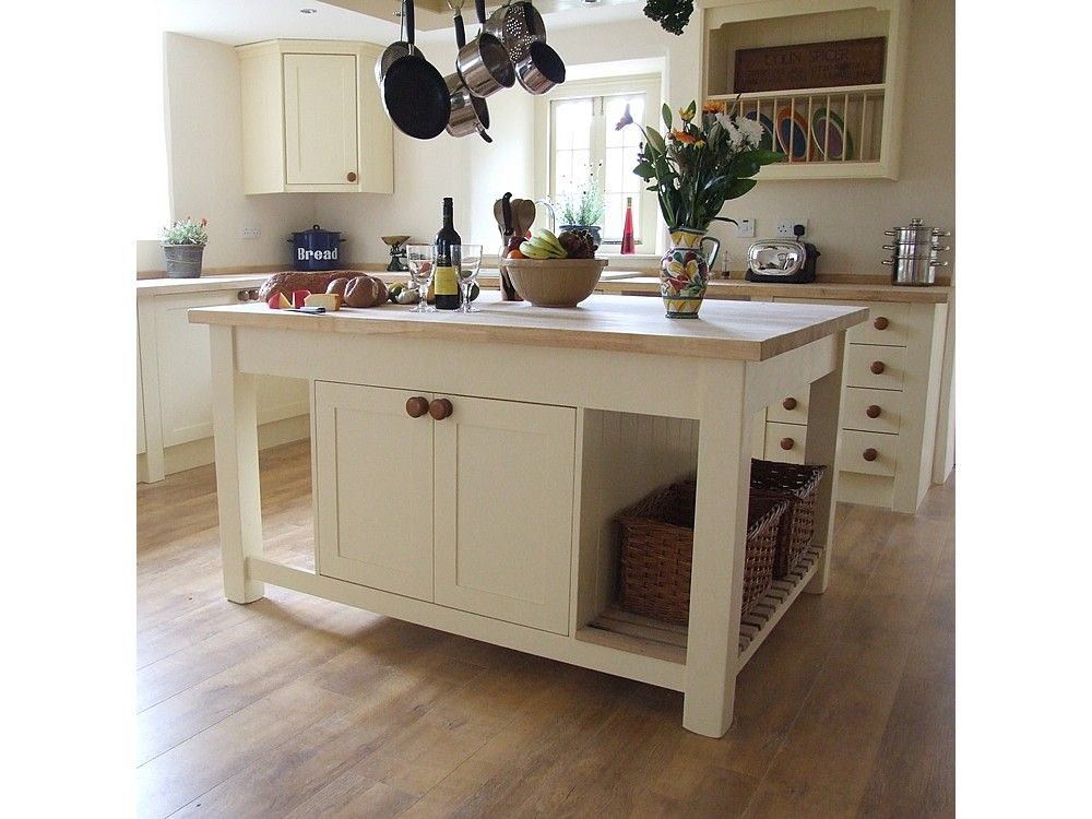 Simple White Stand Alone Kitchen Islands With Double Racks For ...