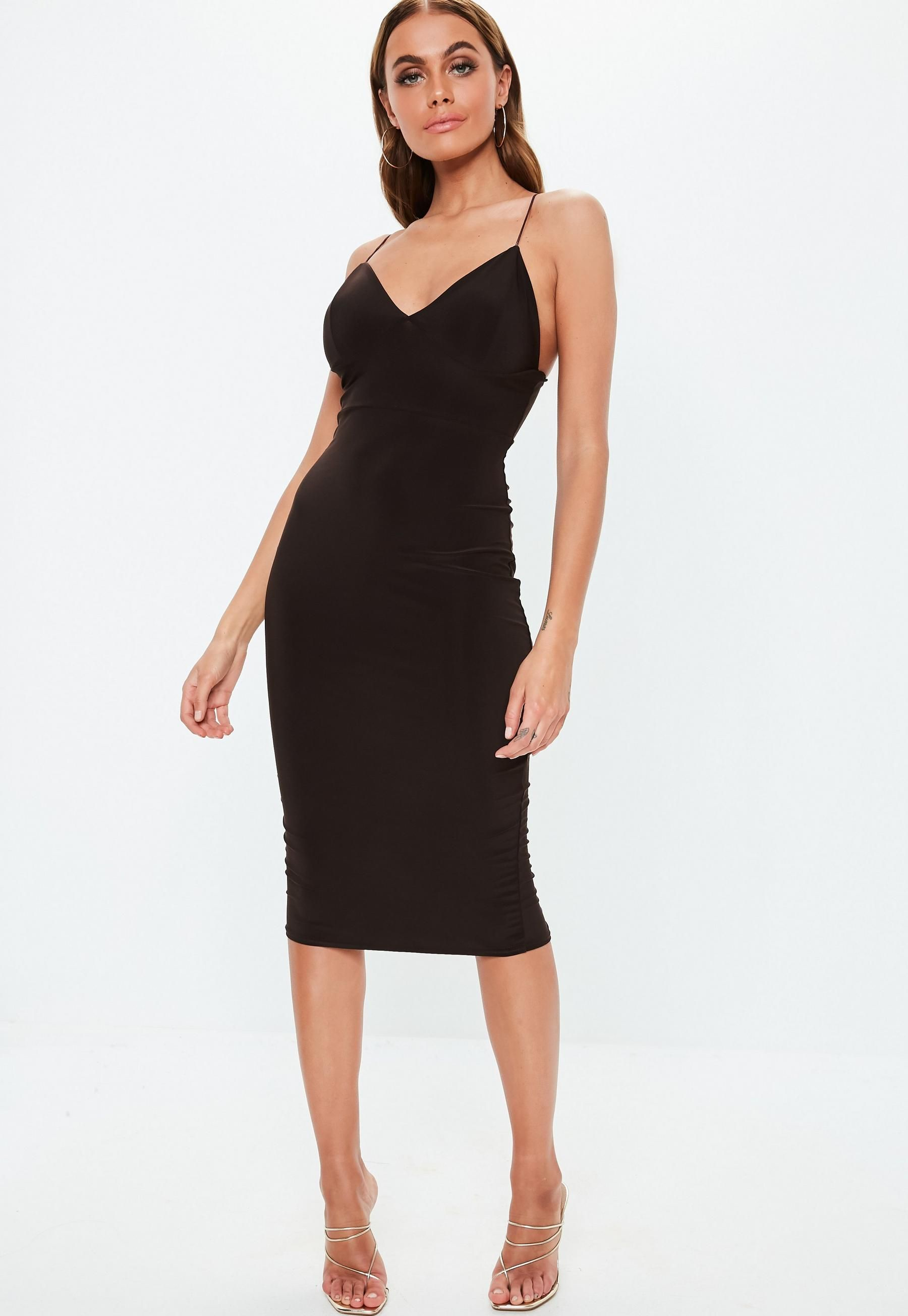 38c36e97efb4 Missguided Brown Slinky Strappy Midi Dress | night life: list of ...