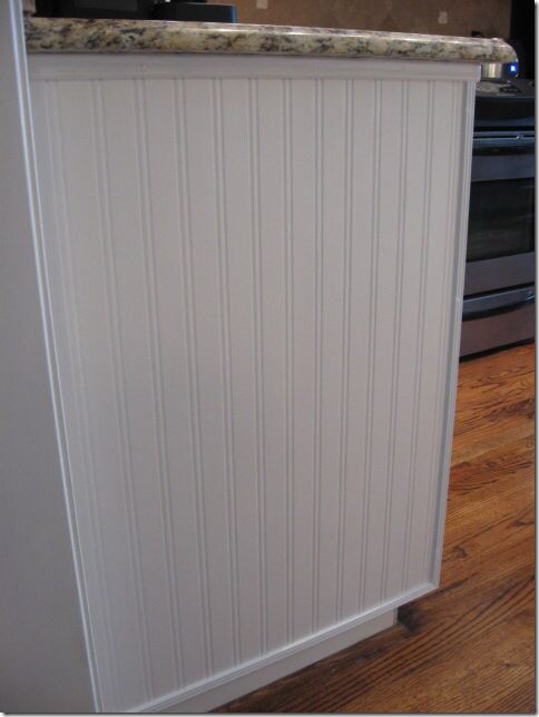 Beadboard On Side Of Kitchen Cabinet Beadboard Wallpaper Beadboard Redo Kitchen Cabinets Beadboard wallpaper on kitchen island