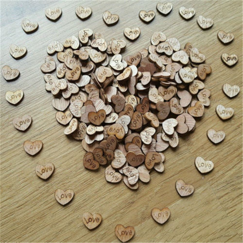 100pcs Rustic Wooden Love Heart Wedding Table Scatter Decoration Crafts #Rienar