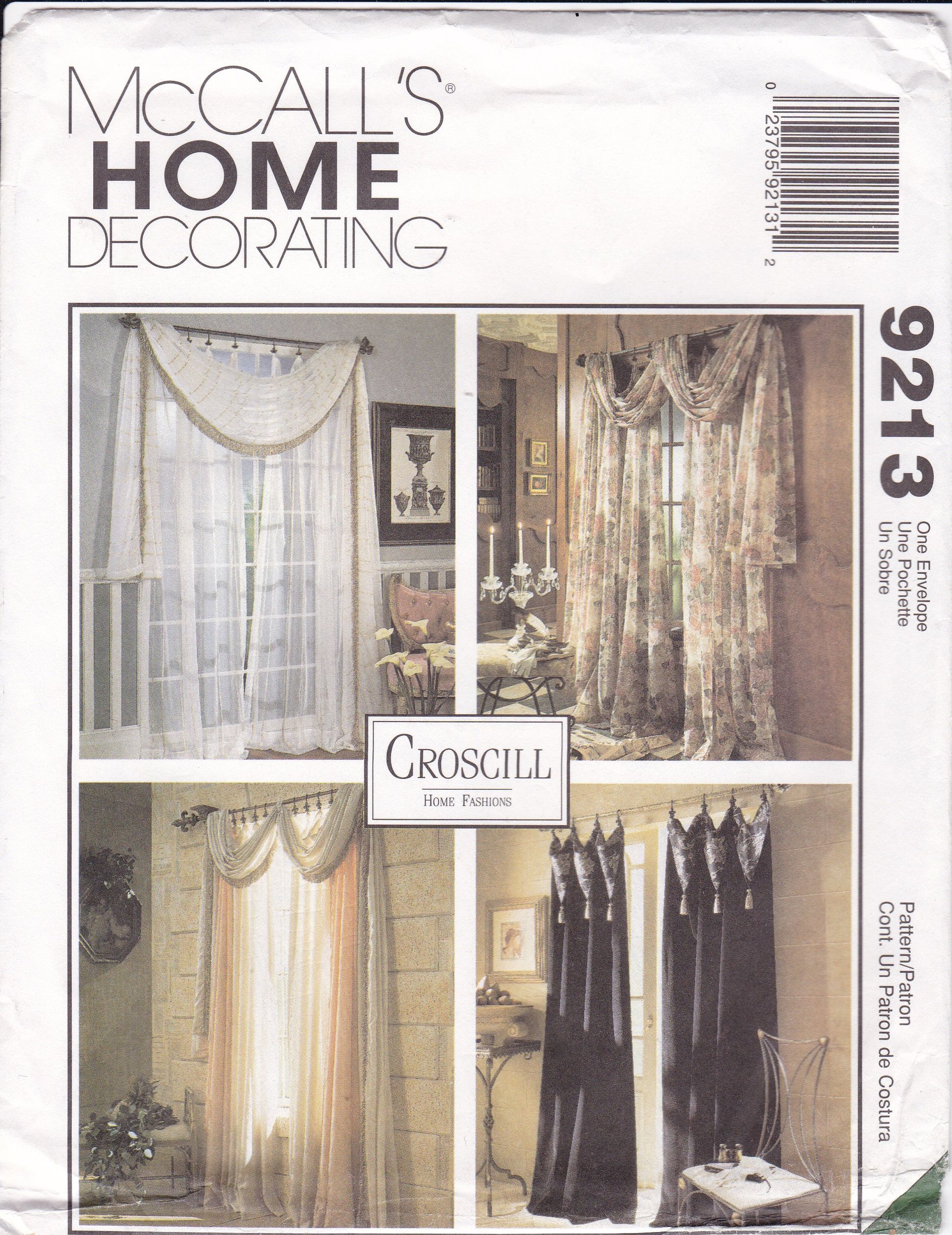 Sewing Pattern Mccalls 9213 Window Treatments Swag Jabot Etsy Custom Window Treatments Mccalls Sewing Patterns Valance Patterns