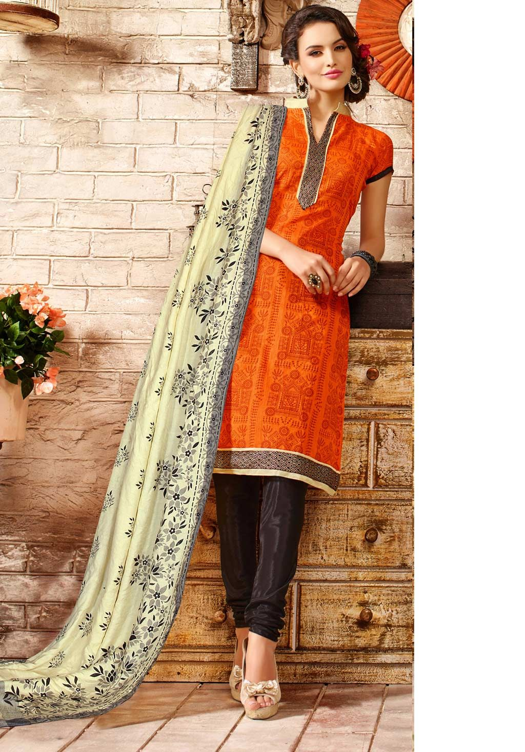 479335dfba Orange Chanderi Cotton Churidar Suit 60185 | Churidar Salwar Suit ...