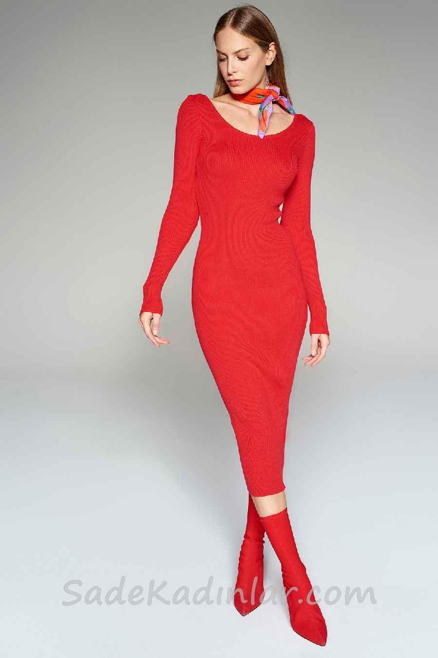 2021 Kislik Elbise Kombinleri Kirmizi Uzun Genis Yuvarlak Yaka Uzun Kollu Elbise Kazak Elbise Elbise Modelleri