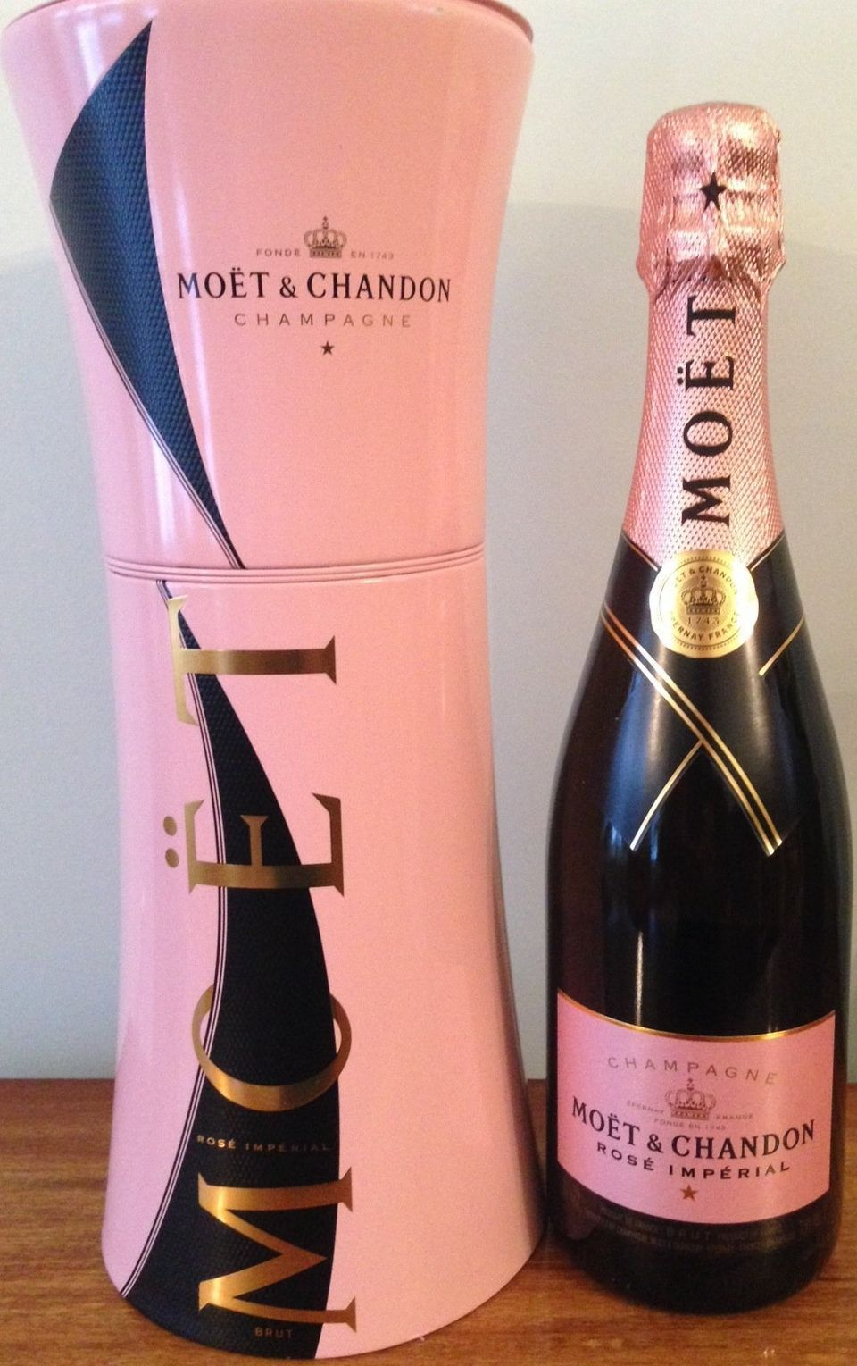 Get fancy with Moet & Chandon Imperial Rose. Its container helps keep a chilled bottle cool. Retails for $55.