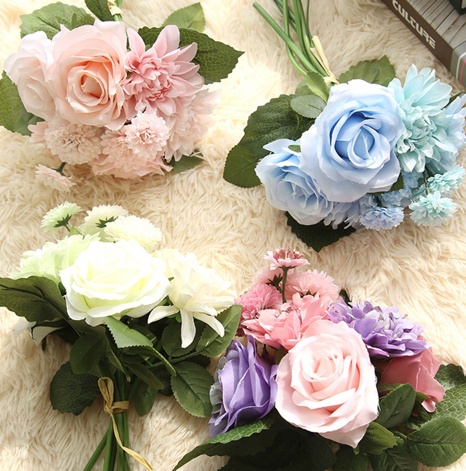 Wedding decorations without flowers  Artificial Fake Rose Daisy Dahlia Silk Flower Bridal Home Wedding