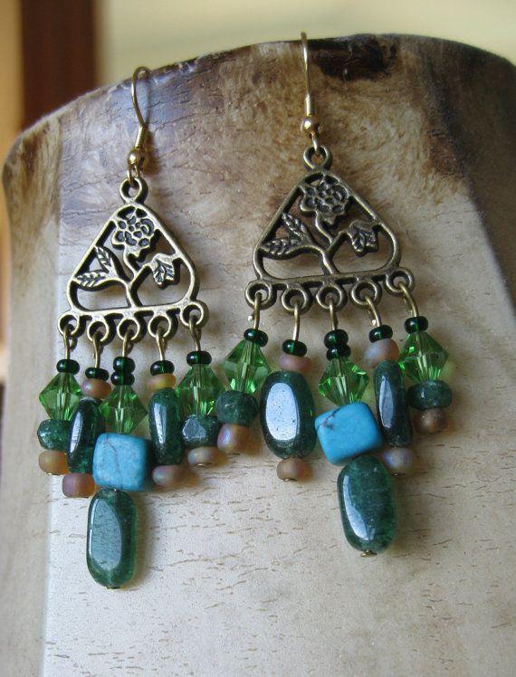 gold green chandelier earrings with by GypsyMaidenJewelry on Etsy, $23.00