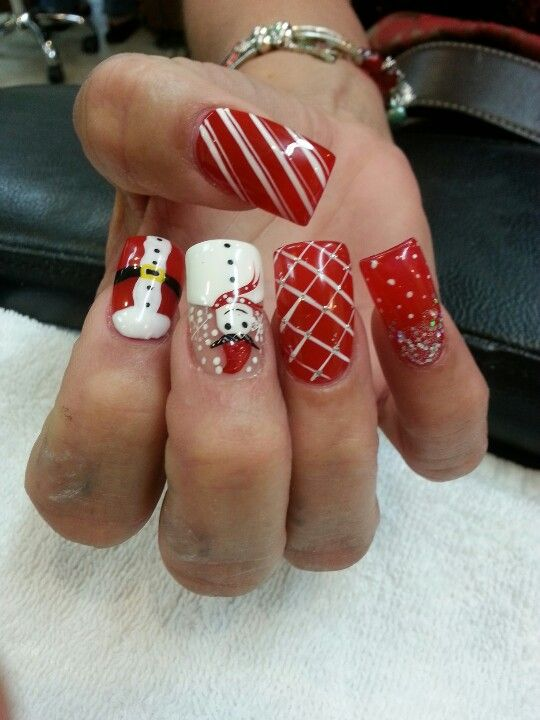 Acrylic Nails With Christmas Designs Nails Pinterest Acrylics