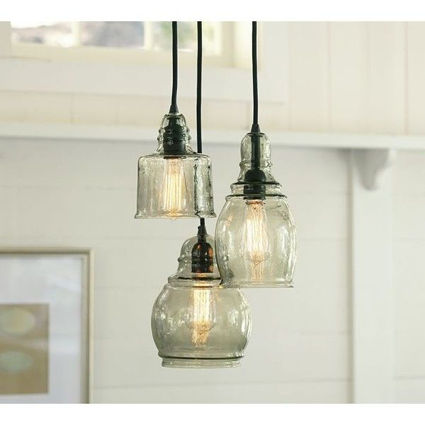 Paxton hand blown glass 3 light pendant at pottery barn hanging