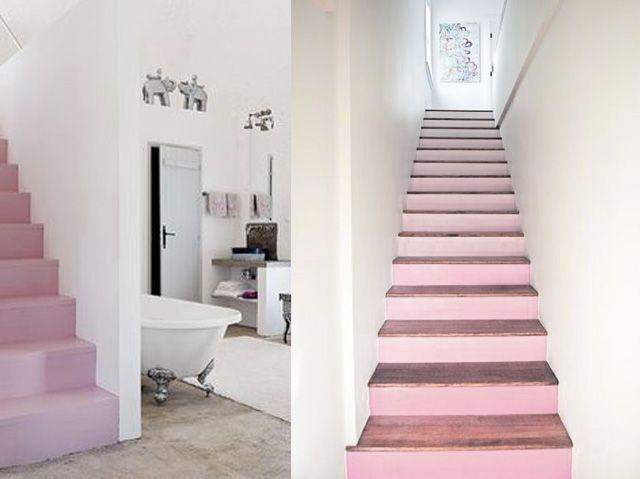 Ambientes decorados con Rose Quarz - Rosa Cuarzo - escaleras. Pantone  2016 www.DesignLover.es