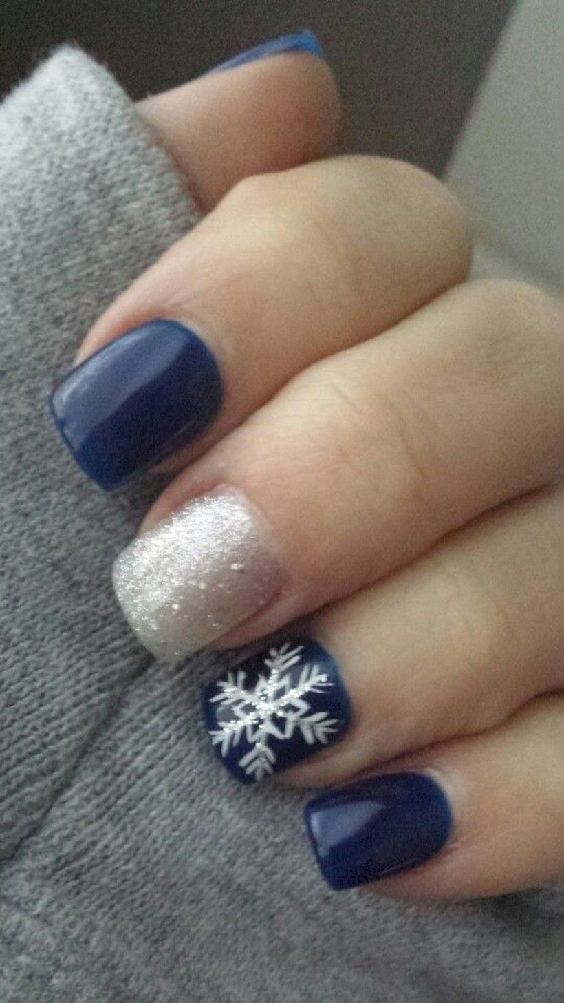 38 Cool Winter Nail Art Design For Women Elegant Nails Blue Nails Snowflake Nails