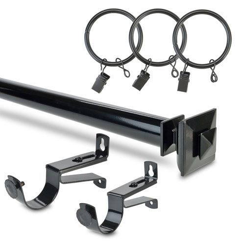 Stacked Square Black 24 To 48 Inch Curtain Rod Set Half Price