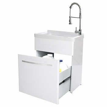Transform Utility Sink With Flexible Faucet And Storage Cabinet