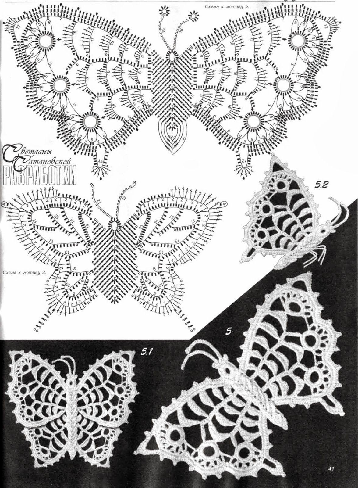 Hermosa Mariposa Patrón De Aplicación Crochet Motivo - Manta de ...
