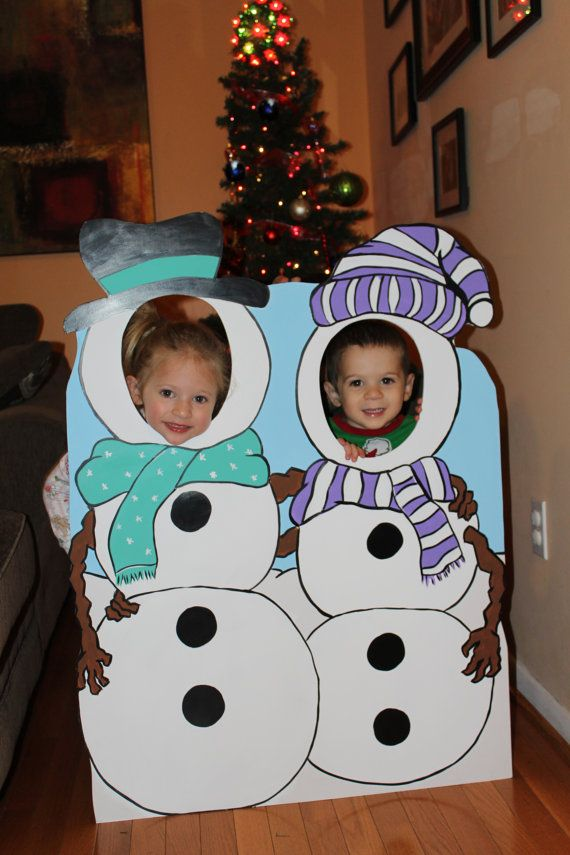 Christmas Stand In Cutouts.Winter Wonderland Photo Booth Prop Foam Board Snowman Duo