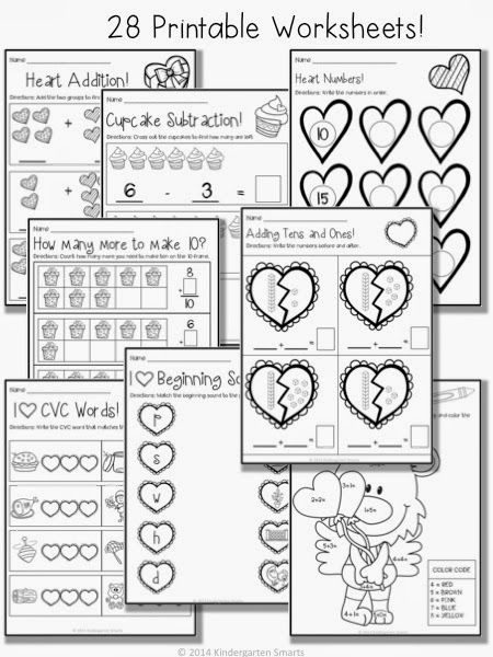 Valentine S Day Math And Literacy Centers With Printable Worksheets And A Math Worksheet Freebie Kindergarten Smarts Math Valentines Kindergarten Valentines Valentine Math Worksheet